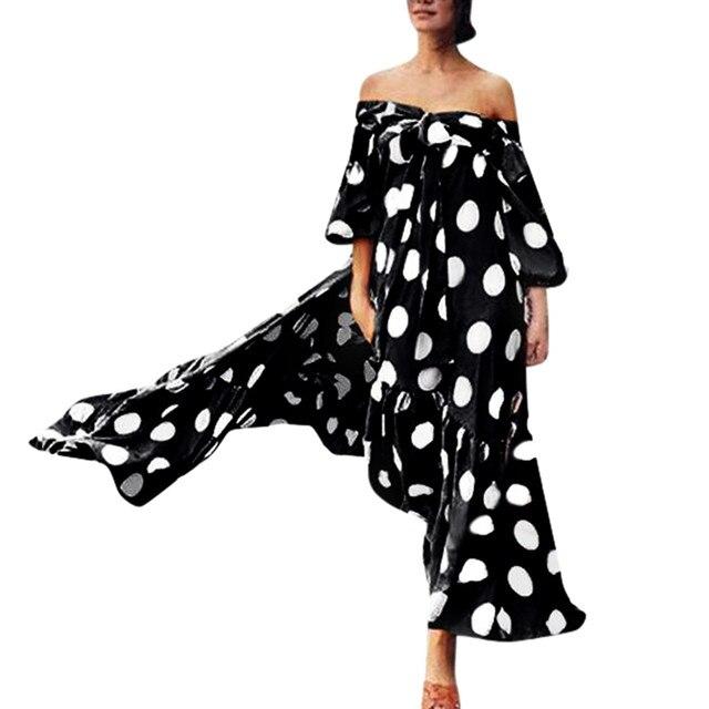 MIARHB летние новые модные женские туфли в горошек Империя Cold Shoulder Lace рюшами Лук Slash шеи платье Бесплатная доставка N4