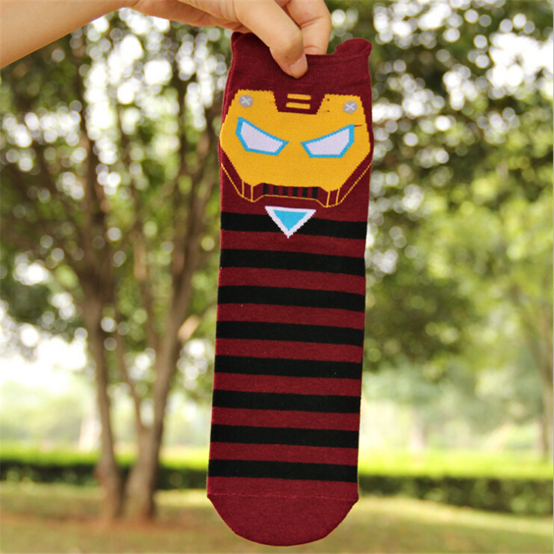 New Arrival women cartoon socks 12pairs/lot Spider-man iron man patterned soks men and women cute cartoon cotton socks