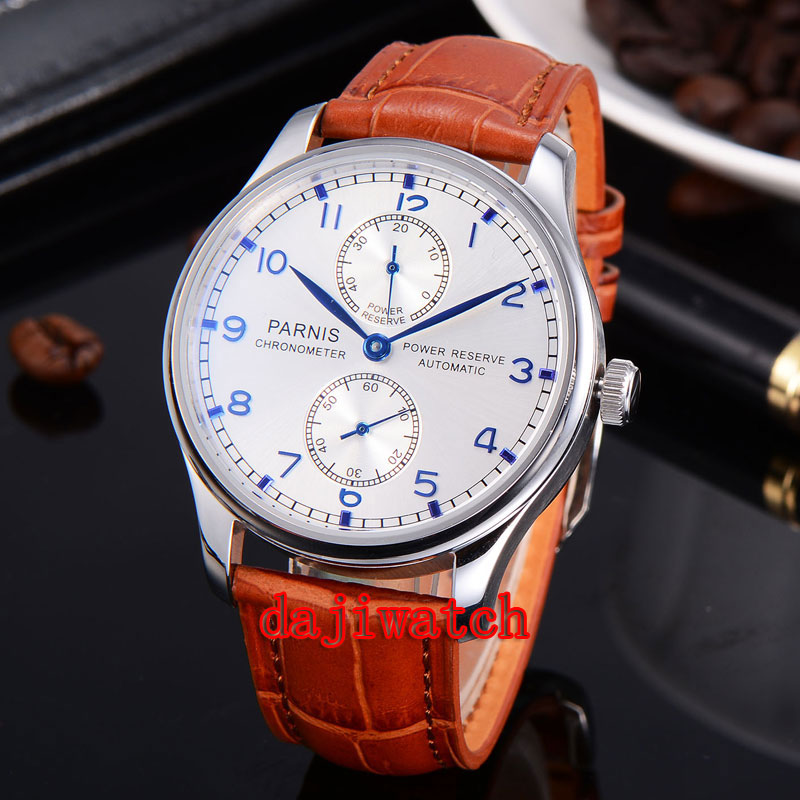 Parnis 43mm Watch Power Reserve Blue Marks Mechanical Automatic Mens Watch Seagull Movement ST2542 PN-048A