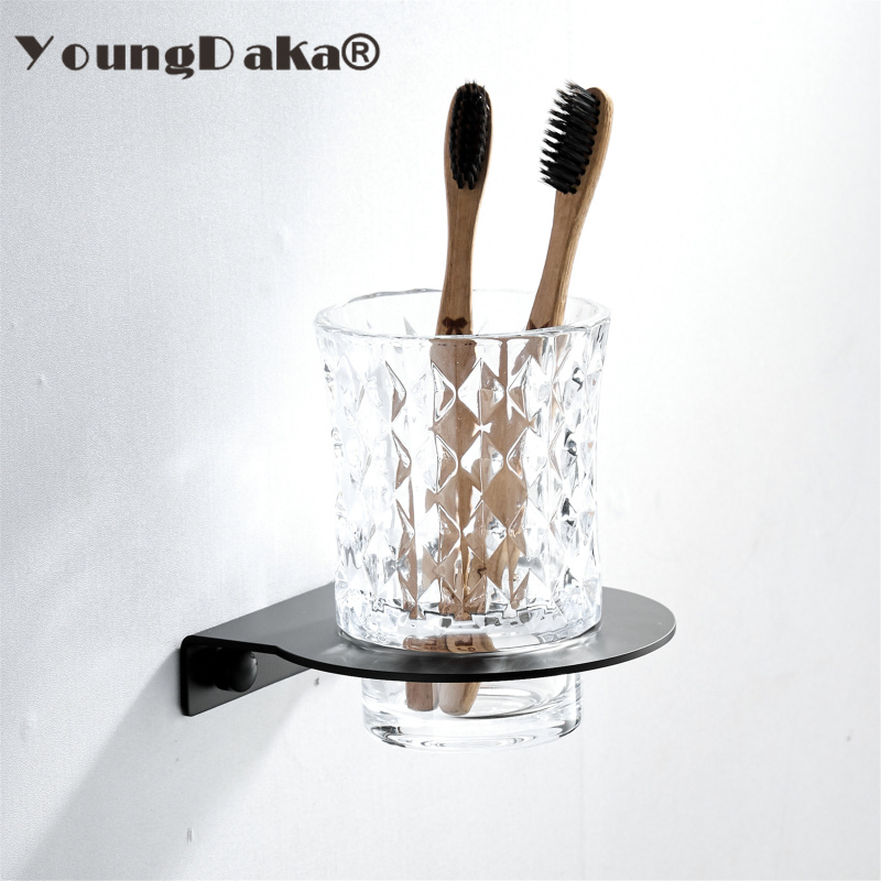 Cup & Tumbler Holders Stainless steel Black Finish Toothbrush Holder Bathroom Hardware sets Single Cup Holder Crystal Cup image