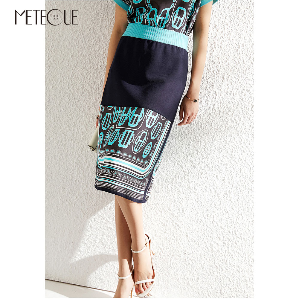 Silk Knitted Patchwork High Waisted Skirt 2019 Spring Summer Fashion Elastic High Waisted Wrap Skirt 2019