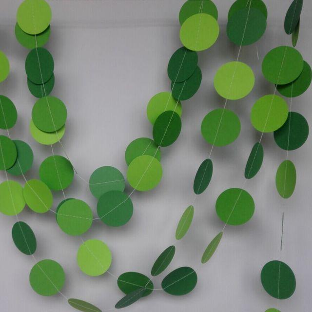 (5pieces/lot) 5 Feet Green Circle Paper Garland Nursery Wall Decor Green  Wedding