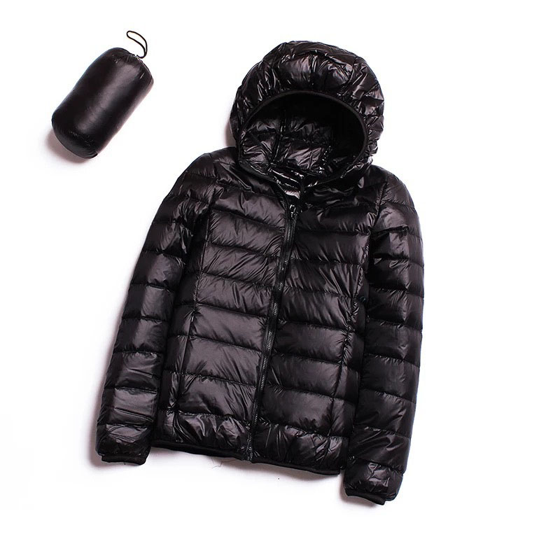 2018 Down jacket women hooded 90 duck down coat Ultra Light warm Female Solid Down jacket