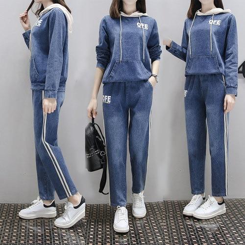 Grande taille 4xl survêtement femmes deux pièces Ensemble jeans décontractés Conjunto Feminino année Femme Costume Ensemble Femme Survetement
