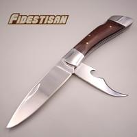 مرآة الفولاذ الصلب الخشب الطي سكين جيب صغيرة مزيج المعلبة أداة بقاء التكتيكية سكين حاد حاد البيرة مفتوحة