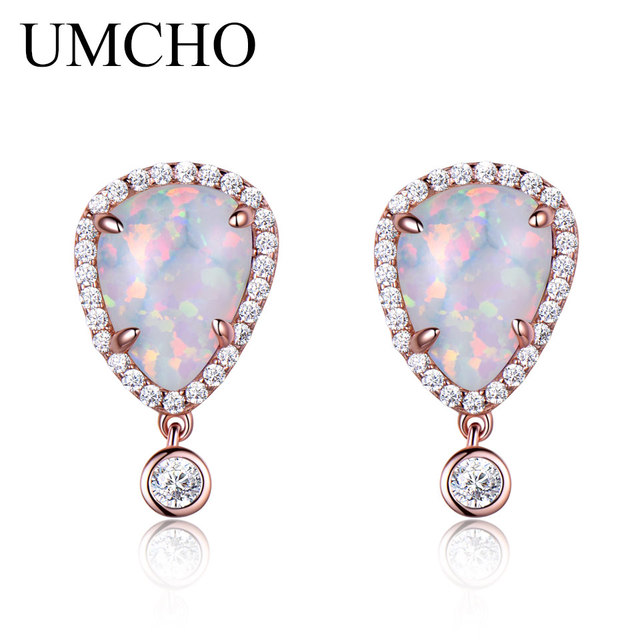 Umcho 925 Sterling Silver Drop Opal Earrings Female Clic October Birthstone Earring For Women Party Gift