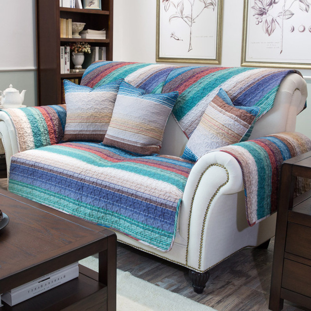 Colorful Cotton Ed Fiber Striped Slipcovers For Loveseat Sectional Seat Slip Cover Best Couch Covers