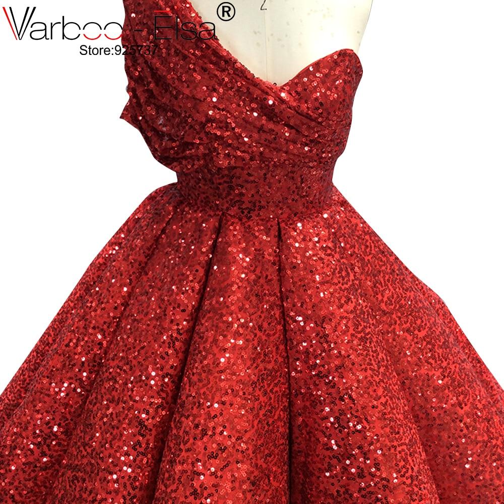 Image 3 - VARBOO_ELSA One Shoulder Sexy Arabic Kaftan Dubai Red Gliter Ball Gown Formal Evening Prom Party Gown Dress Elegant DressesEvening Dresses   -
