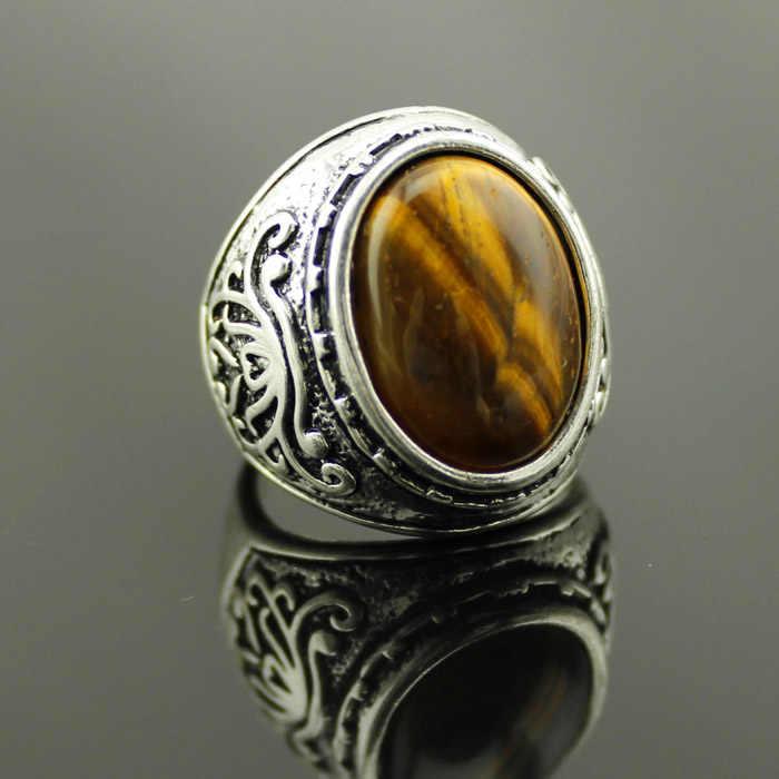 คุณภาพดีชุบเงิน Vintage แหวนหิน Mix สีผสมแฟชั่นเครื่องประดับ 12 ชิ้น/ล็อต