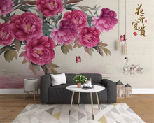 beibehang Classic fashion silky stereo wallpaper new retro rose jewelry TV background papel de parede 3d behang