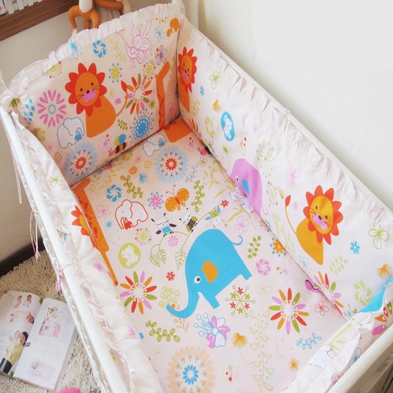ФОТО Baby Crib Bedding Set Nursery Baby Crib Bumper 100%Cotton Nursery Care Baby Bedding Provide Bumper Quilt Pillow Mattress Sheet