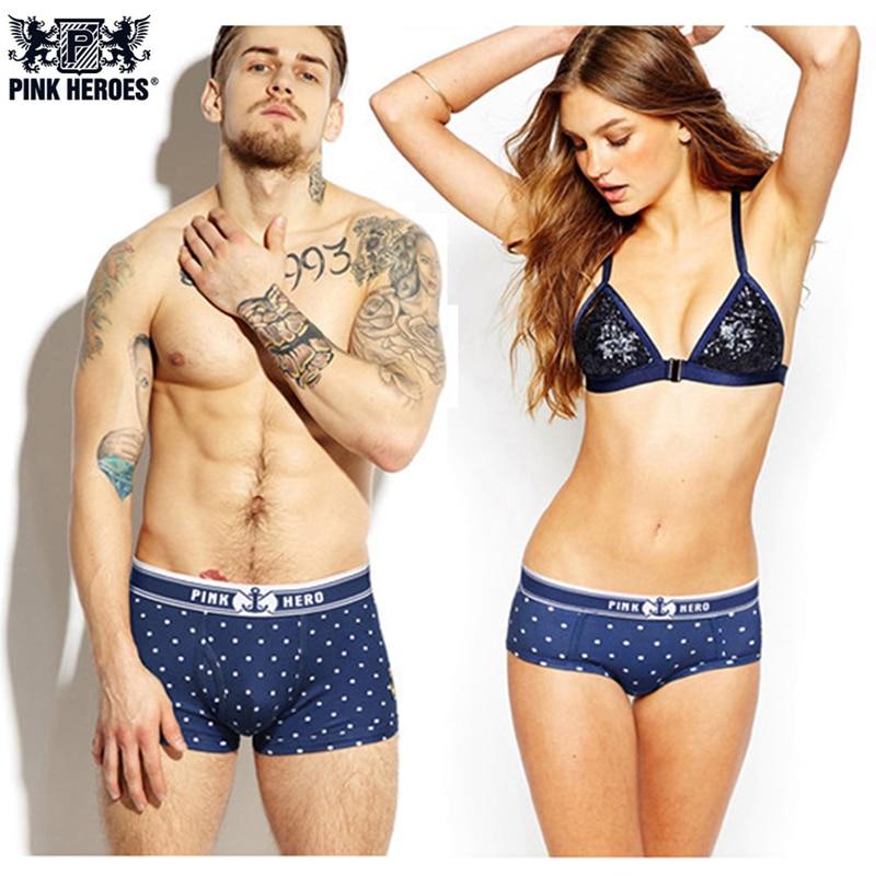 Pink Hero Couple Underwear Stars Print Ball Dot Panties Classic Mens Boxers Women Lingerie Homme Cuecas Lovers Lady Underpants