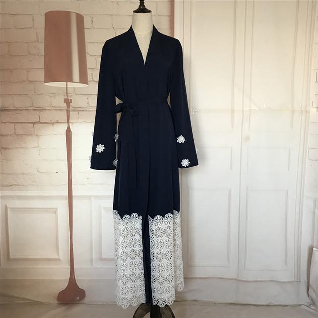 Flor del bordado de encaje de algodón más el tamaño 2017 Adultos linee Robes Musulmane Turco Abaya Musulmán Túnicas Árabes Servicio de Adoración Wj155