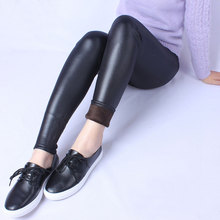 Elastic High Waist Women Thicken Winter Warm PU Leggings Plus Size Velvet Fur leggings Bodycon Pencil Pants Ankle Length 5XL