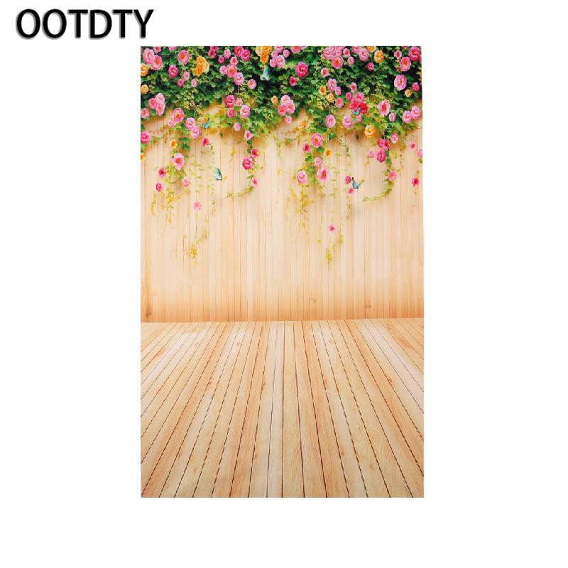 OOTDTY Camera Background 3x5FT Flower Wood Wall Vinyl Background Photography Photo Props Studio Backdrop shengyongbao 300cm 200cm vinyl custom photography backdrops brick wall theme photo studio props photography background brw 12