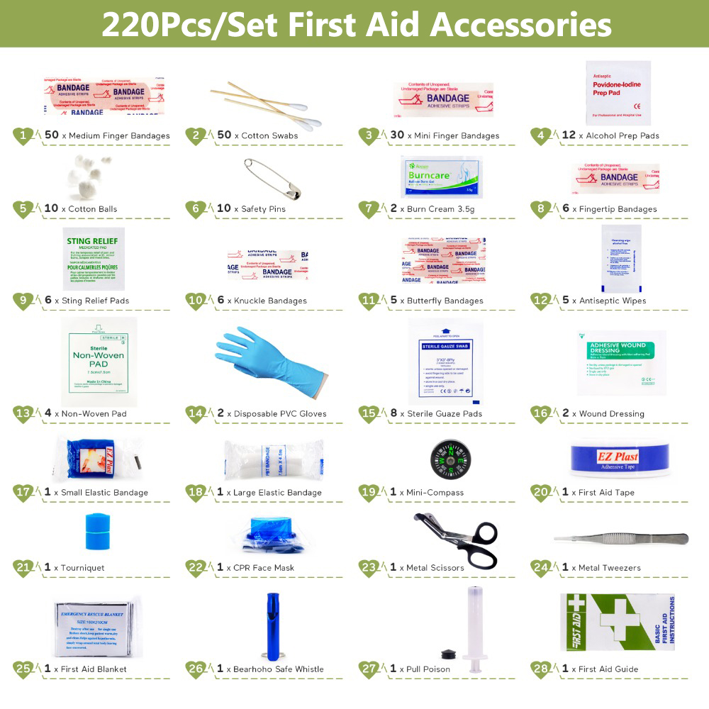 220pcs First Aid Kit DIY Bandage Triangulaire Wound Pad Medical Tape For Home Travel Outdoor Camp First Aid Kits Accessories