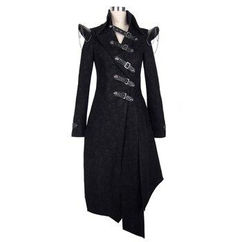 Devil Fashion Heavy Punk Rock Asymmetric Long Jacket Coats for Women Steampunk Black Autumn Winter Cotton Overcoat Windbreakers 6