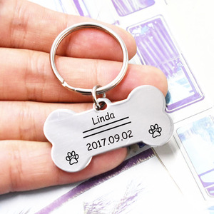 Engraved Dog ID Tags Keychains Stainless Steel Keyring for Cats Dogs Collar Accessories Name Number Key Chains(China)