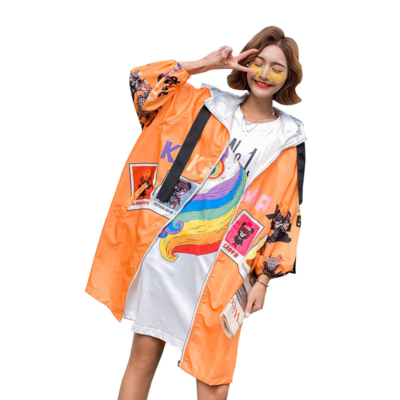 Fashion Cartoon Print Spring Coat Women Long Outerwear 2019 New Streetwear Thin Section Ribbon Hooded   Trench   Coat Female Tide