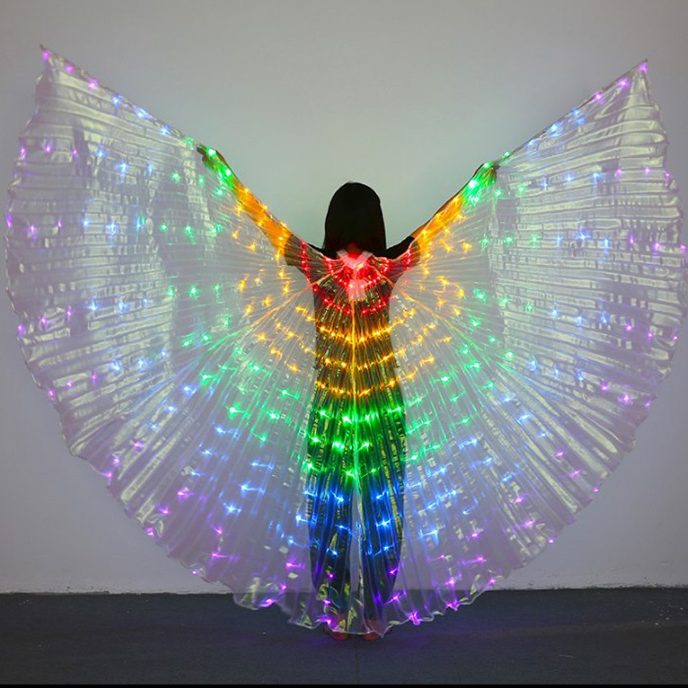 Adult Women LED Wings Glow Light Up Belly Dance Costumes Performance Clothing Carnival Halloween