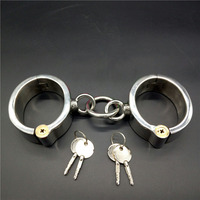 Top stainless steel oval handcuffs locking bdsm bondage hand cuffs fetish slave metal wrist restraints sex toys for adults