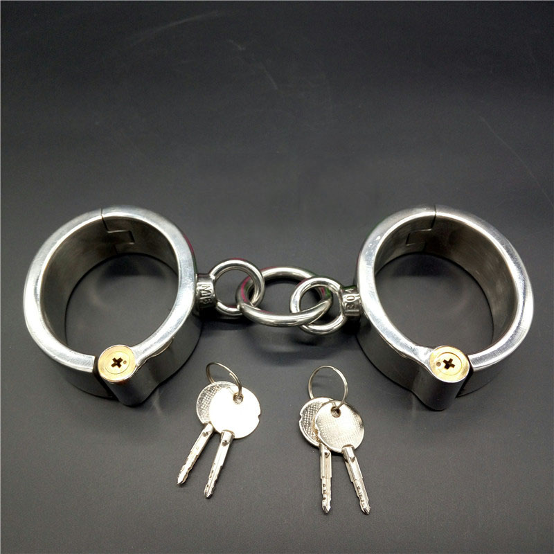 Top stainless steel oval handcuffs locking bdsm bondage hand cuffs fetish slave metal wrist restraints sex toys for adults stainless steel metal hand cuffs bdsm fetish wear bondage restraints handcuffs for sex erotic toys adult game sex toys for women