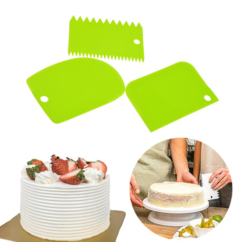 3 Pieces Cream Scraper Irregular Teeth Edge DIY Cake Decorating Fondant Pastry Cutters Baking Spatulas Tools