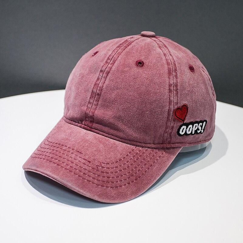 2018 Baseball Cap Women Dad Hat Men Rapper Hip Hop Summer Washed denim Caps  Casual Cotton OOPS Heart Unisex Hats bone gorras c17b3beaf3