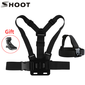 SHOOT Chest Strap Head Strap Mount for GoPro Hero 9 8 7 5 Black Xiaomi Yi 4K Sjcam M10 Sj8 pro Eken H9 Dji Osmo Action Accessory cnc aluminum three way adjustable pivot arm mount adapter for gopro hero 8 7 6 5 4 for dji osmo action for sjcam yi eken camera