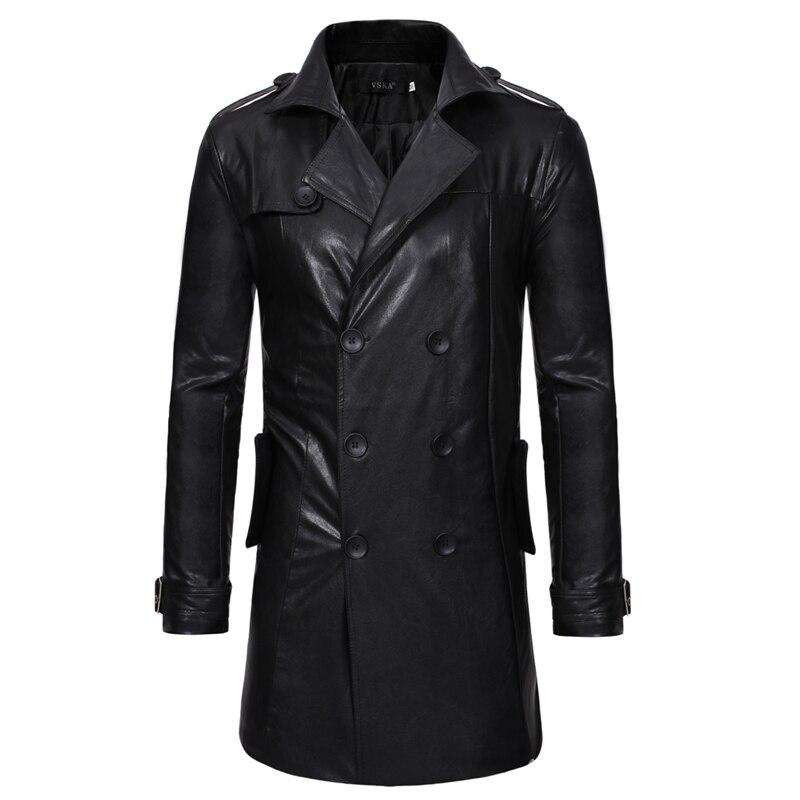 Cuir Jaket hommes nouvelle mode populaire noir moyen longueur printemps vestes hommes décontracté double boutonnage moto manteau
