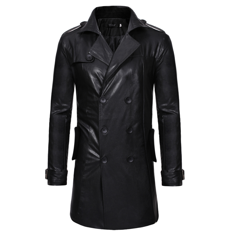 Leather Jaket Men New Fashion Popular Black Medium Length Spring Jackets Mens Casual Double breasted Motorcycle Coat