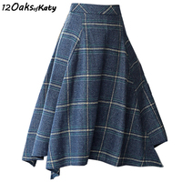 12 OAKS OF KATY Blue And Light Gray S To XXL Irregular Wool Skirt Plaid Zip