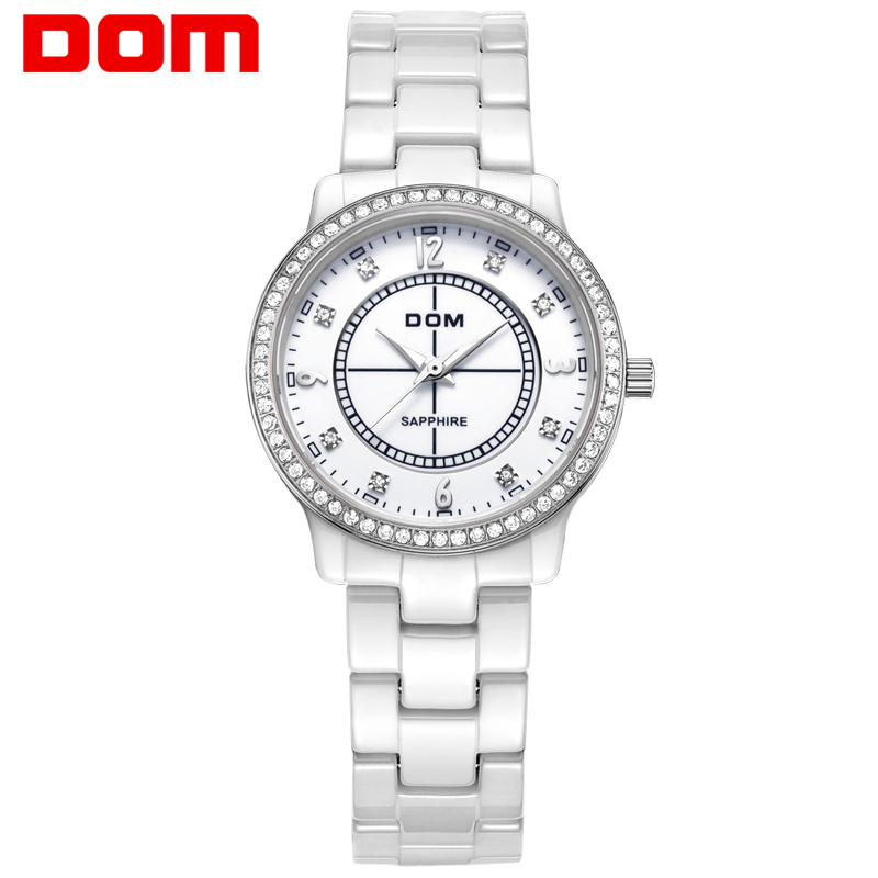 DOM 2016 Women Ceramic Waterproof Watches Montre Luxury Fashion Watch Quartz Women Fashion Casual Stainless Steel