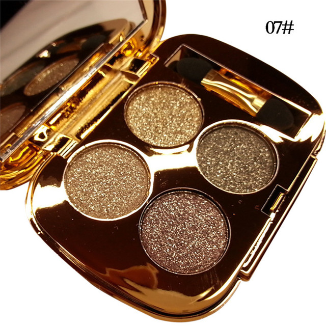 New 4 Colors Gold Smoky Cosmetics Diamond Bright Glitter Eye Shadow  Professional Eye Makeup Eyeshadow Palette 4