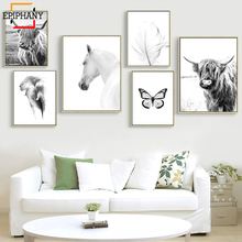 Modern Home Decor Highland Cow Poster White Horse Butterfly Canvas Painting Abstract Art Nordic Wall Pictures for Living Room