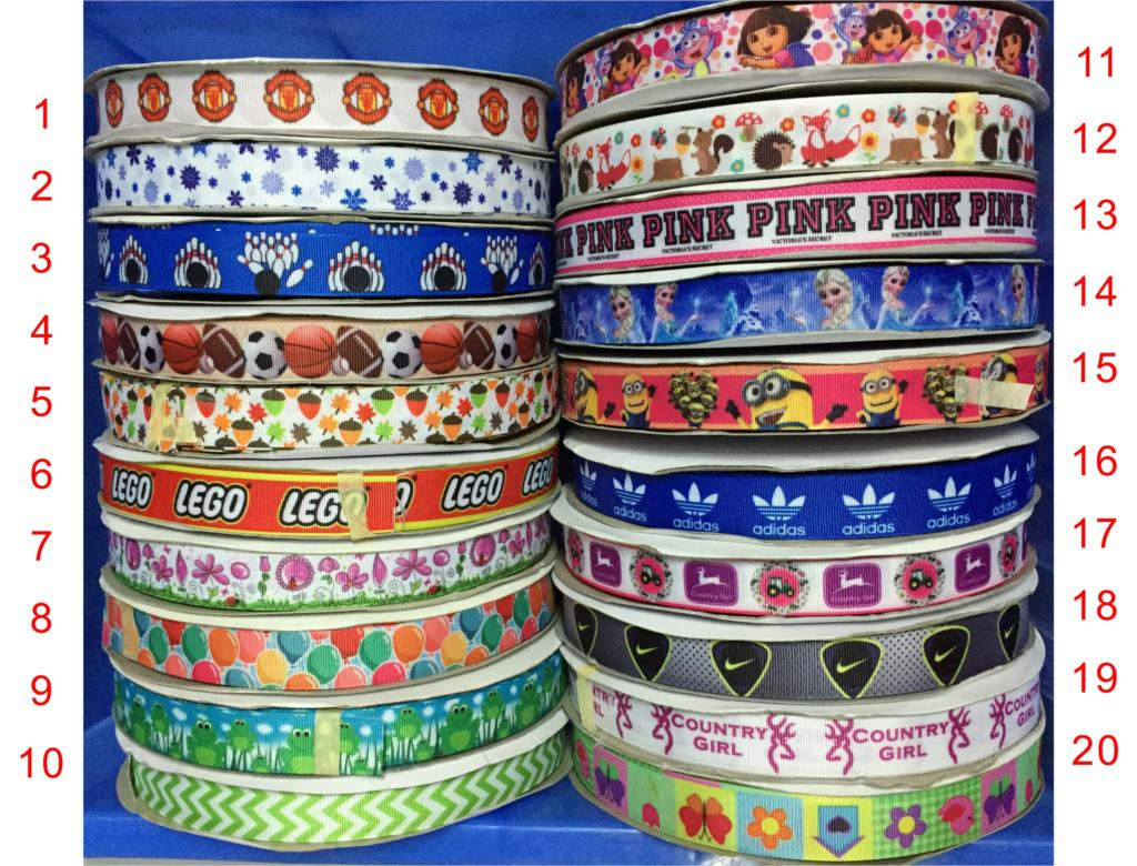 """Dobro 20 Choices 7/8"""" 22mm Popular Printed Grosgrain Ribbons For DIY Craft Party Decoration Gift Packaging,100 Yards"""
