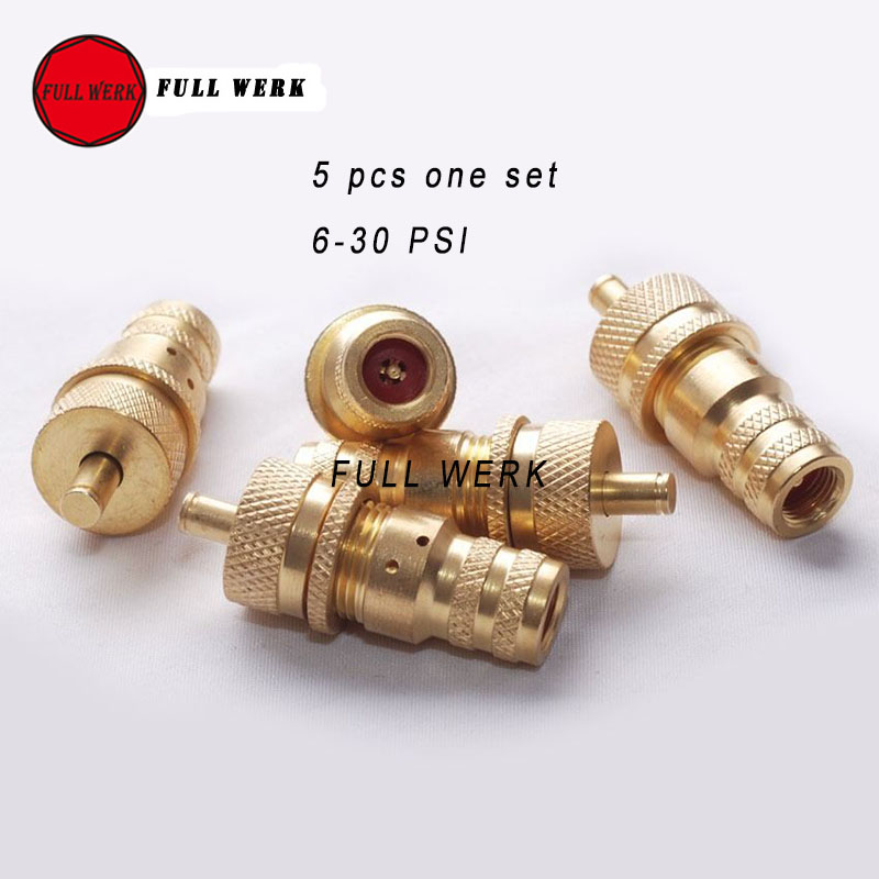 5pcs/Set 4WD Automatic Brass Off-Road Tire Tyre Deflators Bleed Valve Set 6-30 PSI Universal Fit For SUV Accessory