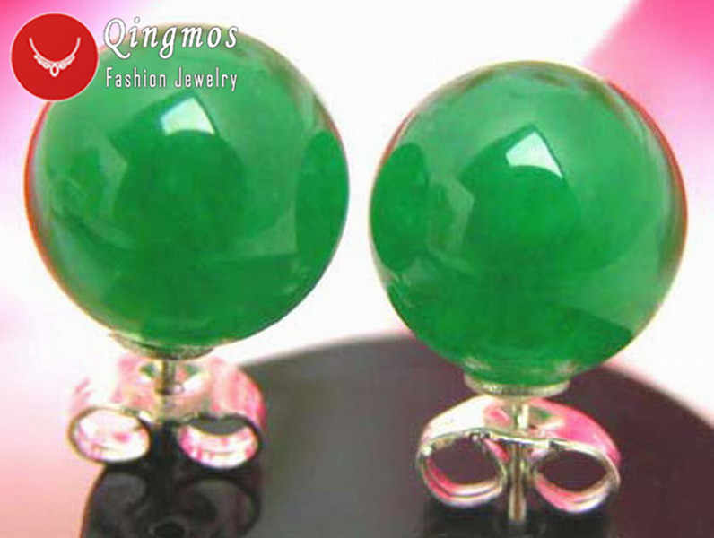 Qingmos Trendy Green Jades Earrings for Women with 10mm Round Natural Jades Sterling Silver S925 Stud Earring-ear129