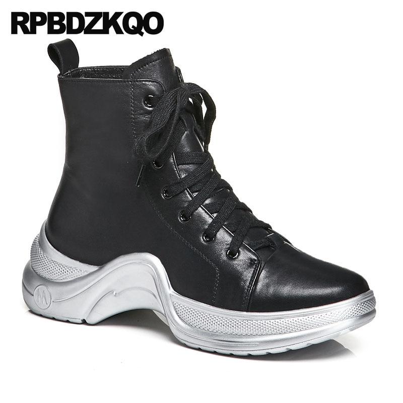 f526c2a398e198 D'hiver Casual Talon Sneakers Cheville Muffin Grande Marque Bottes Silver  black Automne Chaussures Lacent Femmes ...