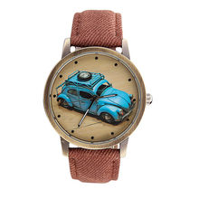 Watch Concise Fashion Men And Women Retro Car Pattern Denim Twill Strap Watch Hot style selling Exclusive production beautiful2