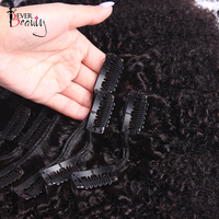 Afro Kinky Curly Hair Clips 4B 4C Brazilian Ever Beauty Remy Hair Extention Clip In Human Hair Extensions 10 26 Inches