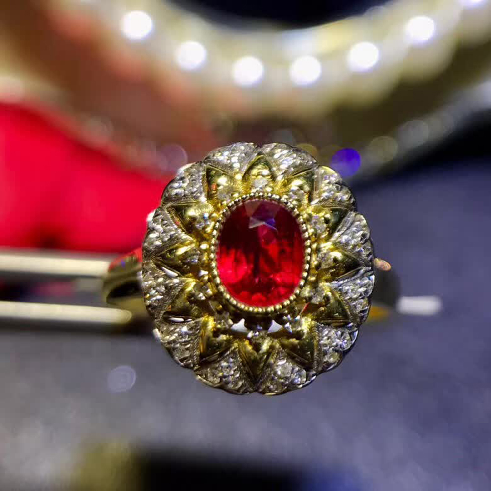 gemstone jewelry factory wholesale classic luxury 18k yellow gold real diamond natural Ruby gold ring for women wedding 1