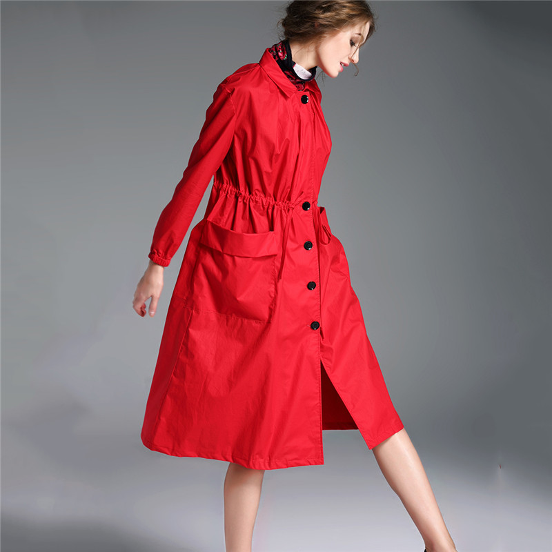 Fashion 2019 Spring Autumn   Trench   Coats New European Loose Thin Large Size Casual British Women's Windbreaker Long Coat A1525