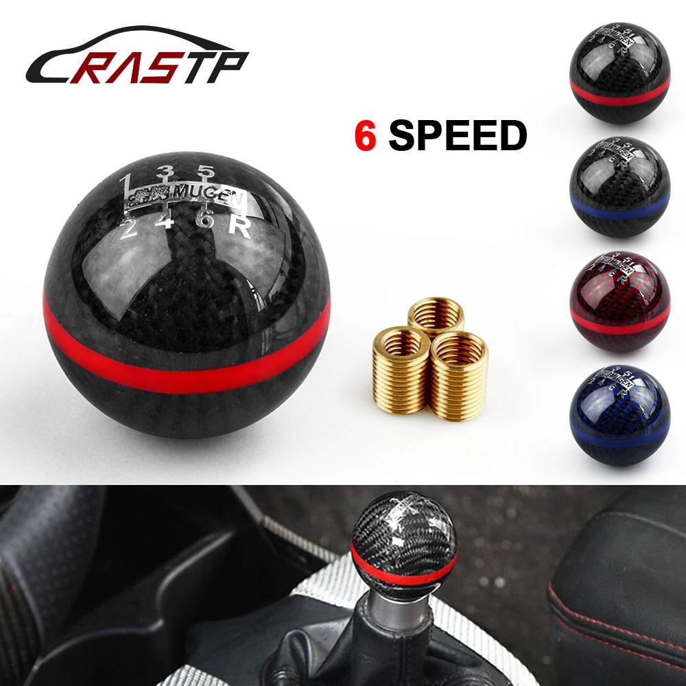 RASTP-Universal Genuine Carbon Fiber Mugen 5 / 6 Speed Manual / Automatic Spherical Gear Shift Knob for Honda Acura RS-SFN013