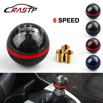 цена на RASTP-Universal Genuine Carbon Fiber Mugen 5 / 6 Speed Manual / Automatic Spherical Gear Shift Knob for Honda Acura RS-SFN013