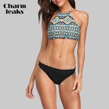 все цены на Charmleaks Women Bikini Set Vintage Floral Print Swimwear Strappy Swimsuit Bathing Suit Padded Beachwear онлайн
