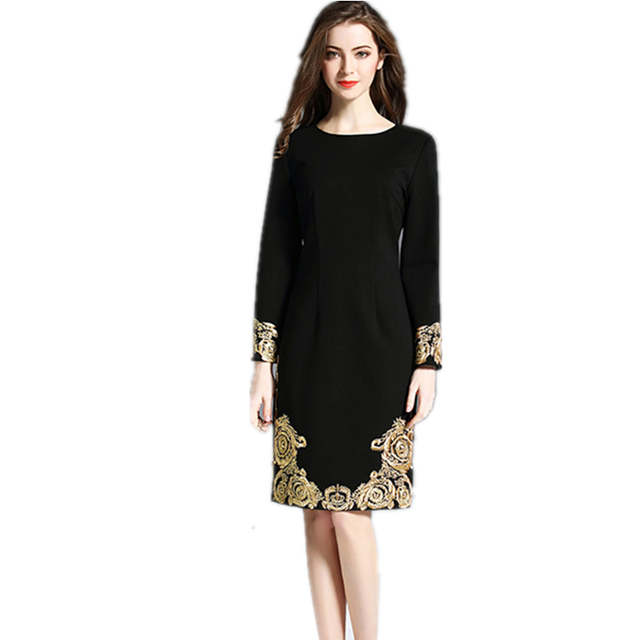 Us 25 4 23 Off Newest 2019 High Quality Spring Plus Size Black Dress Women Runway Gold Embroidery Long Sleeve Elegant Midi Party Vestidos In