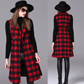 2017 Sping Casual Plaid Sleeveless Trench Coat Women Fashion Trench Vest Double Breasted Design Slim Lady Trench Hot Sale