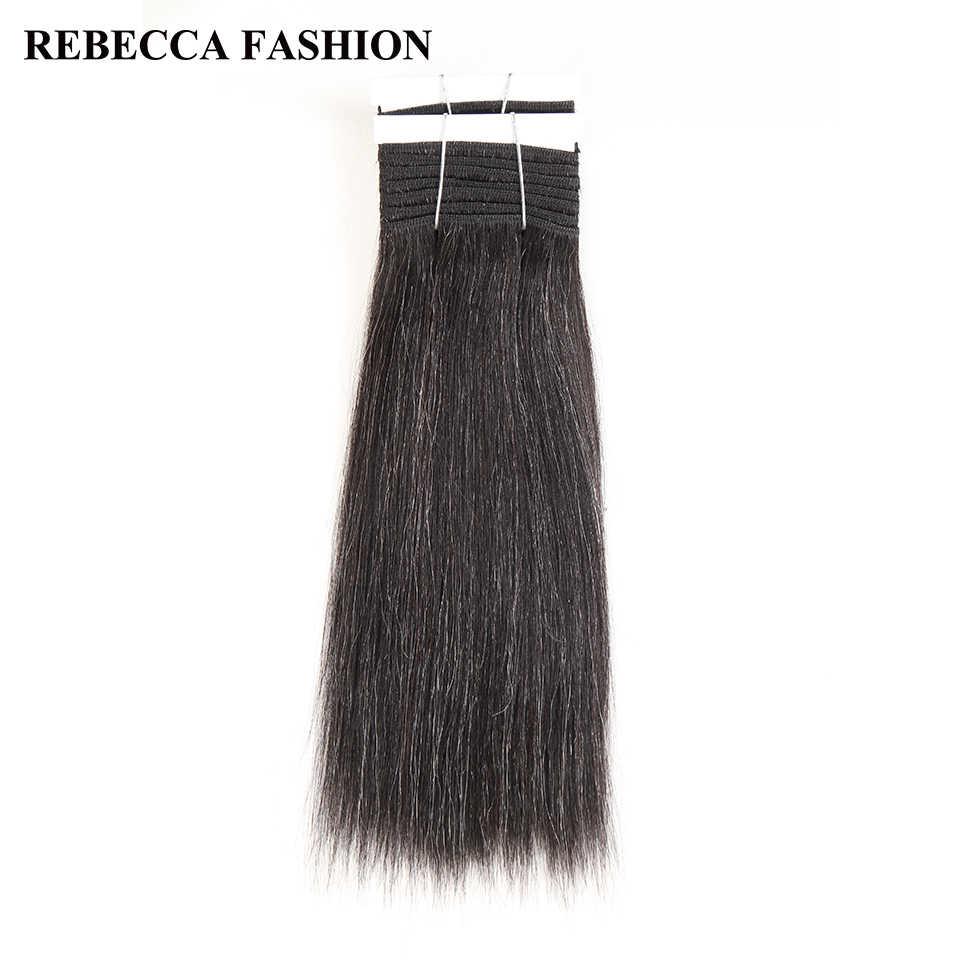 Rebecca Remy Braziliaanse Yaki Straight Menselijk Haar Weave 1 bundel 10-14 Inch Zwart Grijs Zilver Gekleurde Salon Haar extensions 113g