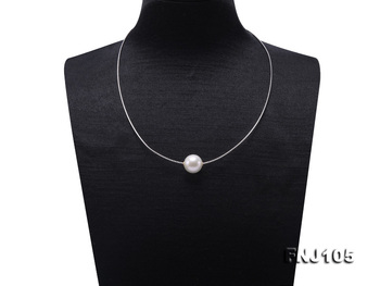 New Arriver Edison pearl 14MM White Color Round Beads With S925 Sterling Silver Chain Necklace 17.5inches Fashion Women Gift